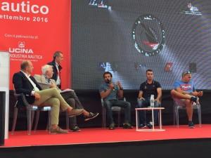 Gaetano sul palco con i colleghi Giancarlo Pedote e Andrea Fornaro.